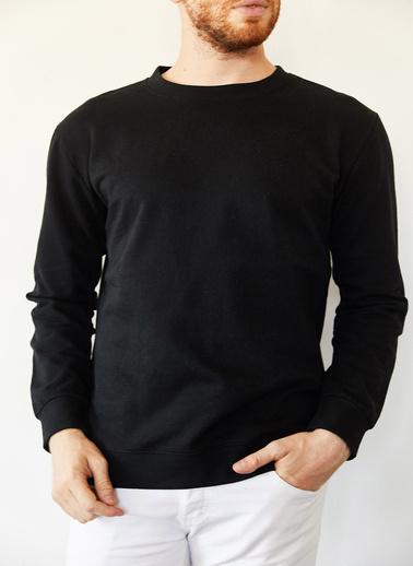 XHAN Lacivert Bisiklet Yaka Iki Iplik Şardonsuz Basic Sweatshirt 0Yxe8-44092-14 Siyah
